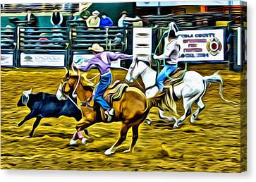 Team Ropers Canvas Print by Alice Gipson