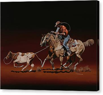 Western Canvas Print - Team Roping by Hugh Blanding