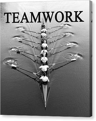 Teamwork Rowing Work A Canvas Print by David Lee Thompson