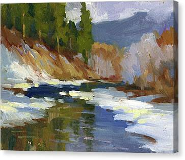 Snow Scene Canvas Print - Teanaway River by Diane McClary