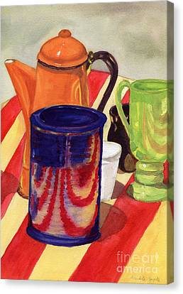 Teapot And Cup Still Life Canvas Print by Mukta Gupta
