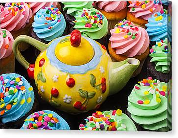 Foodstuffs Canvas Print - Teapot And Cupcakes  by Garry Gay