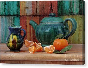 Teapot And Tangerine Canvas Print