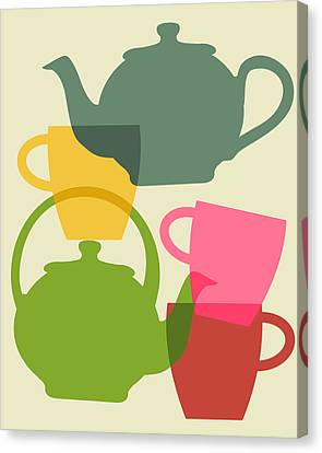 Teapot And Teacups Canvas Print