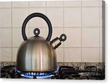 Teapot On Gas Stove Burner Canvas Print