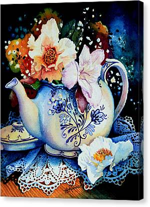 Teapot Posies And Lace Canvas Print