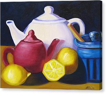Teapots In Primary Colors Canvas Print