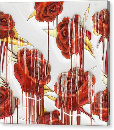 Canvas Print featuring the digital art Tear-stained Roses by Liane Wright