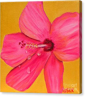 Canvas Print featuring the painting Teardrops - Pink Hibiscus Flower by Shelia Kempf