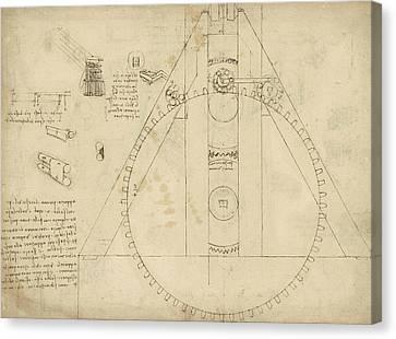 Teaseling Machine From Atlantic Codex Canvas Print by Leonardo Da Vinci