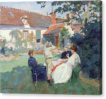 Teatime Canvas Print by Jules Ernest Renoux