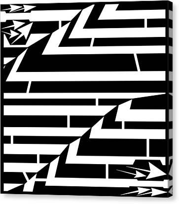 Techthonic Zig-zag Maze  Canvas Print by Yonatan Frimer Maze Artist