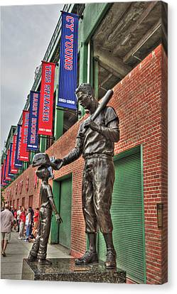 Ted Williams Statue At Fenway Park Canvas Print by Joann Vitali
