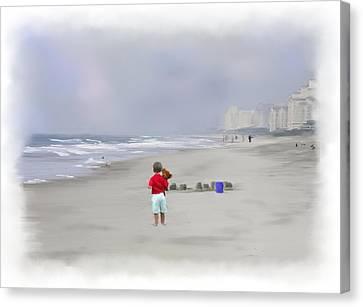 Teddy Bear And Sand Castles  Canvas Print by Mary Timman