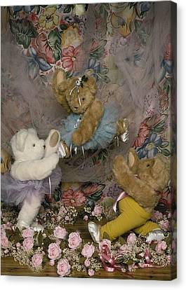 Dance Ballet Roses Canvas Print - Teddy Bear Ballet by Mary J Tait