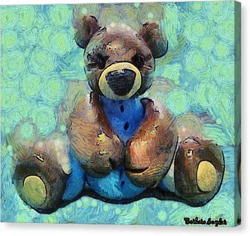 Teddy Bear In Blue Canvas Print by Barbara Snyder