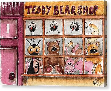 Teddy Bear Shop Canvas Print by Lucia Stewart