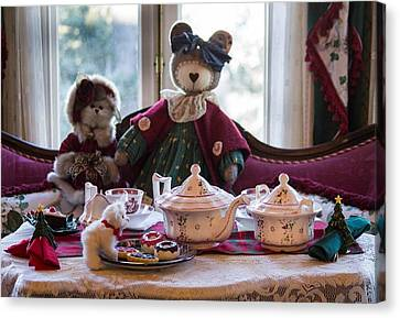Canvas Print featuring the photograph Teddy Bear Tea Party by Patricia Babbitt