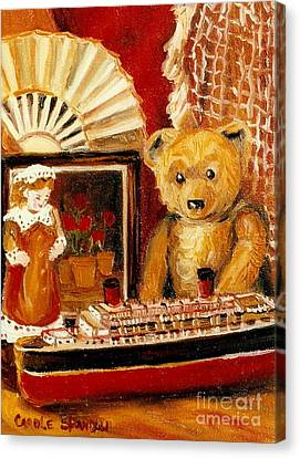 Teddy Bear With Tugboat Doll And Fan Childhood Memories Old Toys And Collectibles Nostalgic Scenes  Canvas Print by Carole Spandau