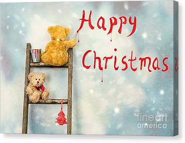 Teddy Bears At Christmas Canvas Print by Amanda Elwell