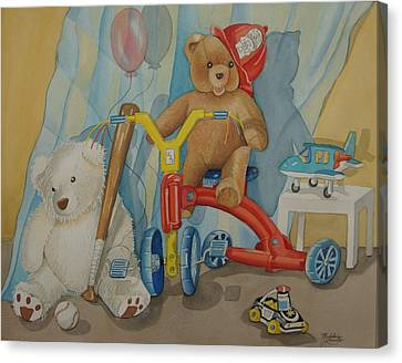 Teddy On A Bike Canvas Print