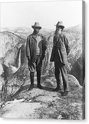 Teddy Roosevelt And John Muir Canvas Print by Underwood Archives