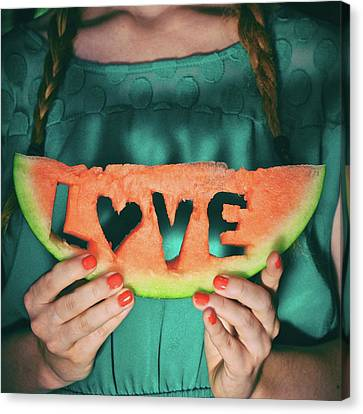 Teen With Watermelon Slice Canvas Print by