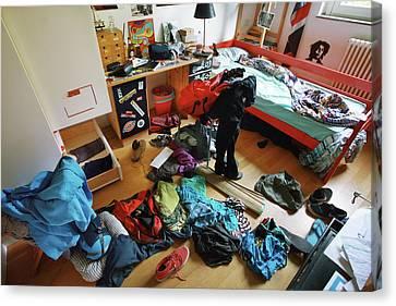 Untidy Canvas Print - Teenage Boy's Bedroom by Mauro Fermariello