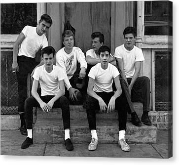 Teenage Boys On A Step Canvas Print by Underwood Archives