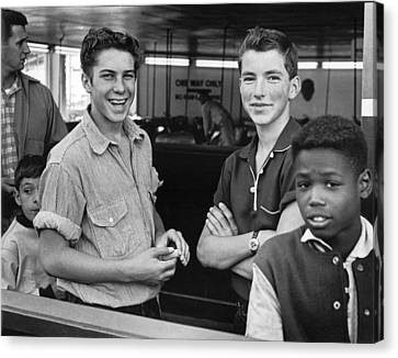 Teens Hanging Out Canvas Print by Underwood Archives