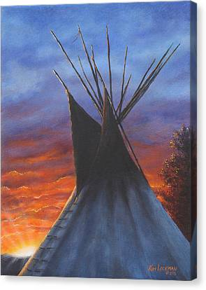 Canvas Print featuring the painting Teepee At Sunset Part 2 by Kim Lockman