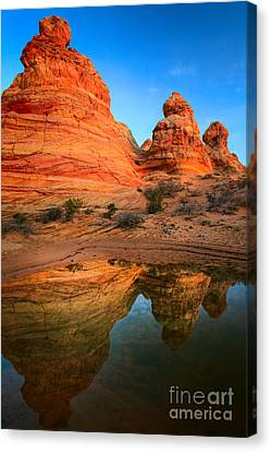 Teepee Reflection Canvas Print by Inge Johnsson