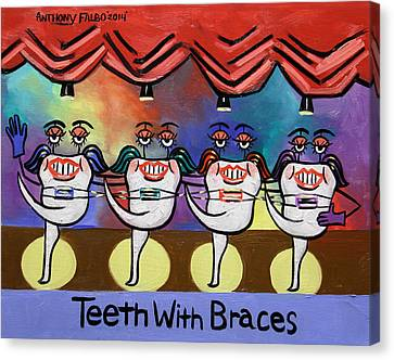 Teeth With Braces Dental Art By Anthony Falbo Canvas Print by Anthony Falbo