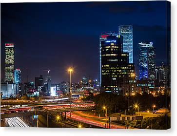Tel Aviv At Night Canvas Print by David Morefield
