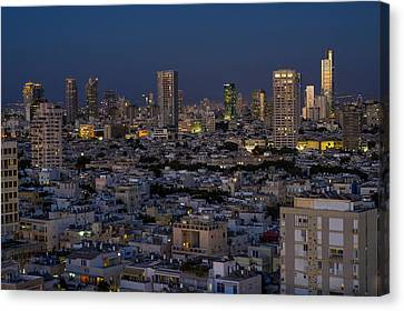Hebrew Canvas Print - Tel Aviv At The Twilight Magic Hour by Ron Shoshani