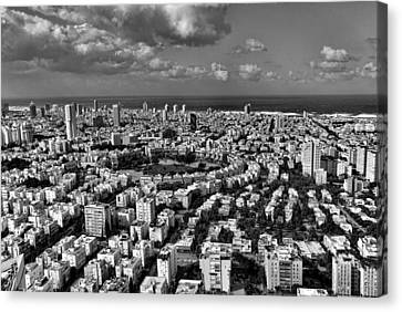 Canvas Print featuring the photograph Tel Aviv Center Black And White by Ron Shoshani