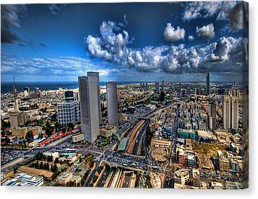 Tel Aviv Center Skyline Canvas Print by Ron Shoshani