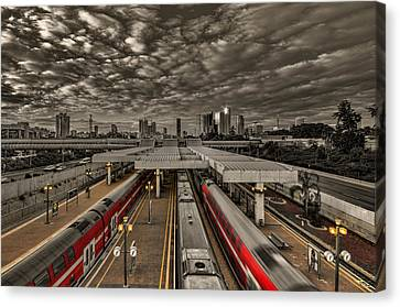 Canvas Print featuring the photograph Tel Aviv Central Railway Station by Ron Shoshani