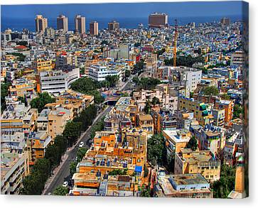Canvas Print featuring the photograph Tel Aviv Eagle Eye View by Ron Shoshani