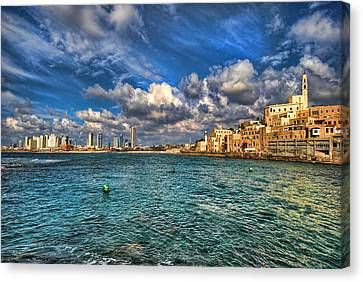 Tel Aviv Jaffa Shoreline Canvas Print by Ron Shoshani