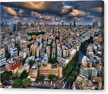 Canvas Print featuring the photograph Tel Aviv Lookout by Ron Shoshani