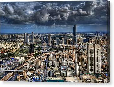 Canvas Print featuring the photograph Tel Aviv Love by Ron Shoshani