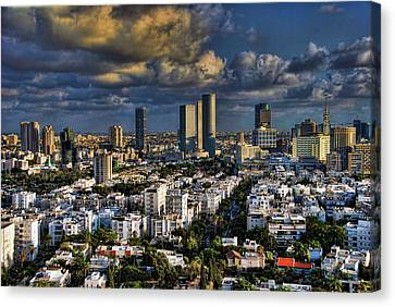 Canvas Print featuring the photograph Tel Aviv Skyline Fascination by Ron Shoshani