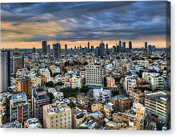 Canvas Print featuring the photograph Tel Aviv Skyline Winter Time by Ron Shoshani