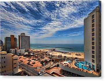 Canvas Print featuring the photograph Tel Aviv Summer Time by Ron Shoshani