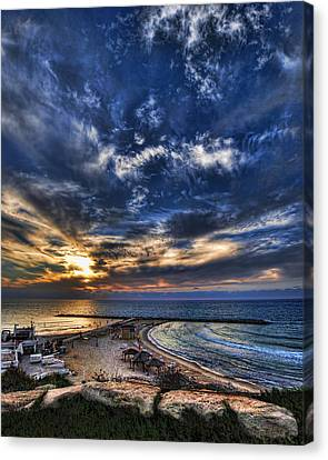 Canvas Print featuring the photograph Tel Aviv Sunset At Hilton Beach by Ron Shoshani
