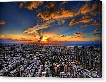 Tel Aviv Sunset Time Canvas Print by Ron Shoshani