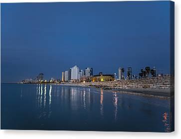 Tel Aviv The Blue Hour Canvas Print by Ronsho
