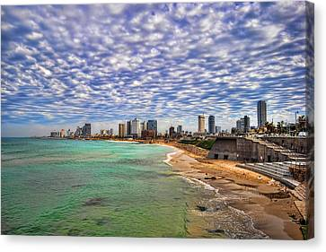 Tel Aviv Turquoise Sea At Springtime Canvas Print by Ron Shoshani