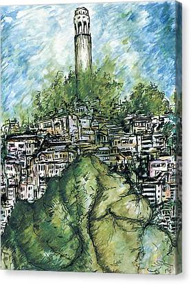 Telegraph Hill San Francisco - Watercolor Canvas Print